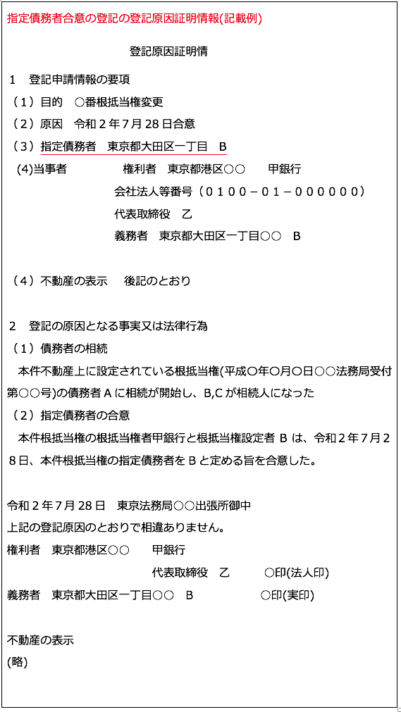指定債務者合意の登記の登記原因証明情報(記載例)